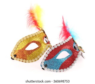 carnival masks isolated on white background