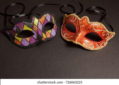 Carnival masks on a gray background