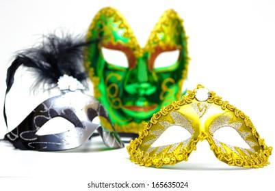 Carnival masks on a white background, Carnival masks, photography