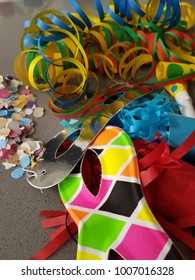 Carnival masks and streamers