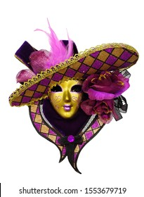 Carnival mystery fantasy mask n white background