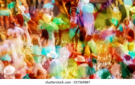 Carnival parade at the famous Sambodromo in Rio de Janeiro Brazil, Motion blurred background for website design template, travel business concept, samba dance school magazines. Image with filter