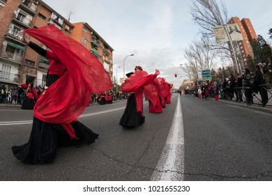 Carnival parade. Madrid, February 9, 2018. Spain. Women in disguise dancing