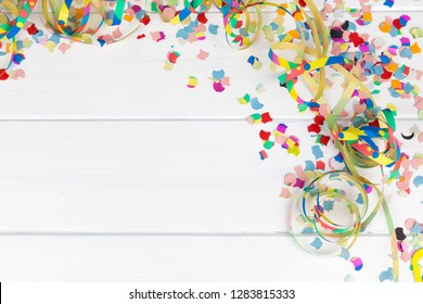 carnival party background with confetti and copy space