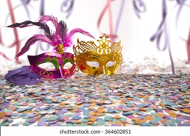Carnival Party Props on blur background with Brazilian Carnival text