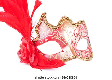 Carnival red mask on white