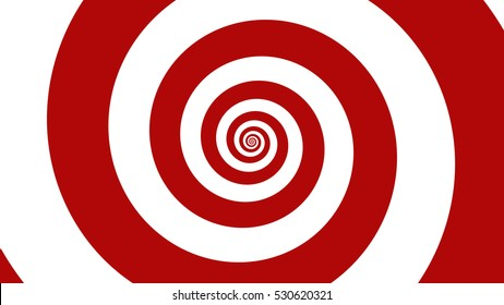 Carnival red & White spiral Optical illusion illustration, abstract background graphics asset, Hypnotising whirlpool effect