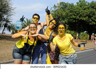 Carnival, Rio de Janeiro, Brazil - March 3, 2014: Minions photographed during 'Sergeant Pepper' street block party.