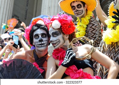 Carnival, Rio de Janeiro, Brazil - February 10, 2013: Revelers honor the Day of the Dead (Dia de los Muertos), one of Latin America's most beloved holidays and most strongly associated with Mexico.
