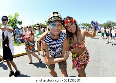 Carnival, Rio de Janeiro, Brazil - February 8, 2016:  Disguised revelers take part in the street block Sargento Pimenta, Portuguese for Sergeant Pepper.