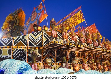 CARNIVAL RIO DE JANEIRO - FEBRUARY 19: Unidos da Vila Isabel samba school  float at the Sambadome, Rio de Janeiro, Brazil, February 19, 2012 . The Rio Carnival is the biggest carnival in the world.