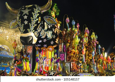 CARNIVAL RIO DE JANEIRO - FEBRUARY 19:  Samba Schoolparade float at the Sambadome February 19, 2012 in Rio de Janeiro, Brazil. The Rio Carnival is the biggest carnival in the world.