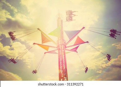 Carnival swing ride. Instagram filter,