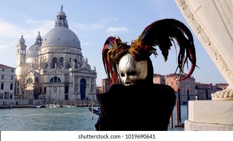 Carnival Venezia, Masks pose in Venice, Italy, 02/04/2018