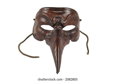 Carnival Venice leather mask with ties - symbol of anonymity, romance or festival, isolated on white