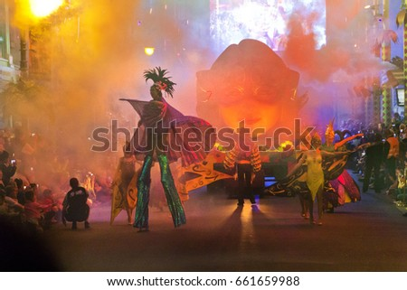 CARNIVALE AT MOVIEWORLD, GOLD COAST,AUSTRALIA-21ST MAY 2016:-The Carnivale is a street performers paradise recreating the great carnivales from latin America