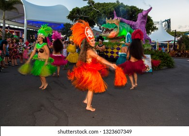 CARNIVALE,GOLD COAST, AUSTRALIA-12th JANUARY 2019:-Carnivale celebrations with street performers, dancers, bands and fire twirlers.