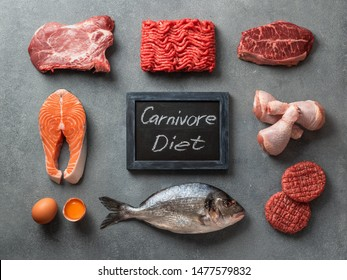 Carnivore diet concept. Raw ingredients for zero carb diet - meat, poultry, fish, seafood, eggs, beef bones for bone broth and words Carnivore Diet on gray stone background. Top view or flat lay.