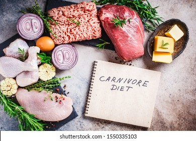 Carnivore diet concept. Raw meat of chicken, beef, butter, cheese, eggs, minced meat and turkey on a dark background, top view, flat lay.
