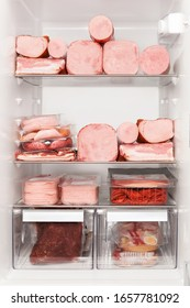 Carnivore diet. Full fridge of various meats. Beef, pork, backon, ham, sausauges.