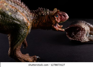 Carnotaurus in front of a dinosaur body on dark background