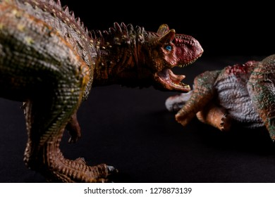 Carnotaurus in front of a stegosaurus body on dark background