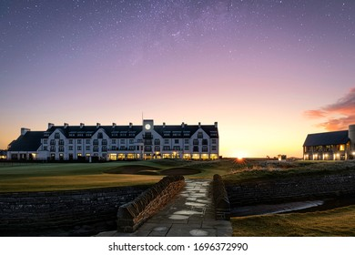 Carnoustie, Angus / Scotland - 09 06 2019: Carnoustie Golf Hotel and Starters Box at sunrise