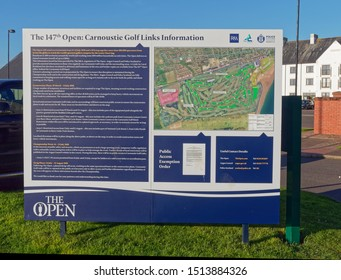 Carnoustie, Scotland - 1st May 2018: An Information Sign for the Open Golf Championship being held at Carnoustie Golf Links during July 2018. Carnoustie, Angus, Scotland.