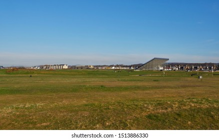 Carnoustie, Scotland - 1st May 2018: Looking across the Greens and Fairways of Carnoustie Golf Links towards the Town itself. Carnoustie, Angus, Scotland.