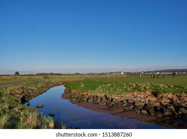 Carnoustie, Scotland - 1st May 2018: Looking across part of the Barry Burn that wends its way through the Course at Carnoustie Golf Links. Carnoustie, Angus, Scotland.