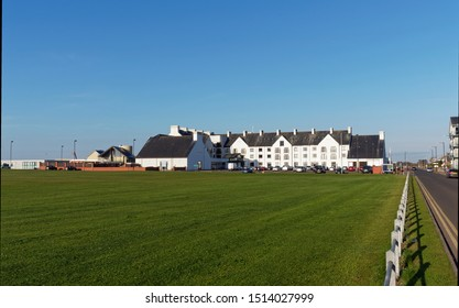 Carnoustie, Scotland - 1st May 2018: The Front of the Carnoustie Golf Hotel at the Championship Course of Carnoustie Golf Links, being made ready for the Open in July 2018. Angus, Scotland.