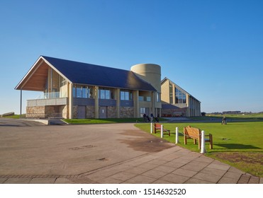 Carnoustie, Scotland - 1st May 2018: The new Carnoustie Links House Clubhouse built for the 147th Open being held at the Course in 2018. Carnoustie, Angus, Scotland.