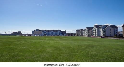 Carnoustie, Scotland - 30th April 2018: The front of the Caroustie Golf Hotel with the new Golf Centre called The Links to the left of it, getting ready to host the 147th Open Golf Championship.