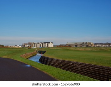 Carnoustie, Scotland - 30th April 2018: Looking at Links Parade Houses and Apartments from the Barry Burn and across the 18th Fairway of Carnoustie Golf Course. Carnoustie, Angus, Scotland.