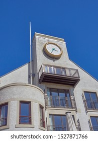 Carnoustie, Scotland - 30th April 2018: The Famous Rolex Clock at the rear of the Carnoustie Golf Hotel, overlooking the 18th Green on the Championship Course.