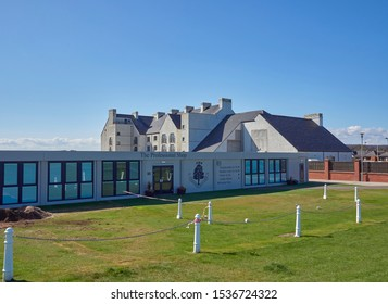 Carnoustie, Scotland - 30th April 2018: The temporary Professional Shop with the Carnoustie Golf Hotel in the background at Carnoustie Golf Links.