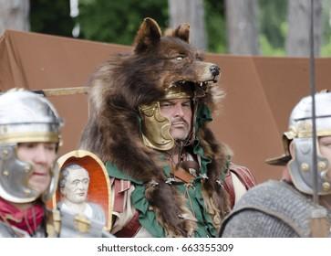 CARNUNTUM, AUSTRIA - June 17, 2017: Signifer (standard bearer) with wolfskin at the roman festival 2017 of Carnuntum, Austria