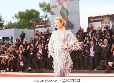 Carolina Crescentini walks the red carpet ahead of the 'Suspiria' screening during the 75th Venice Film Festival at Sala Grande on September 1, 2018 in Venice, Italy.
