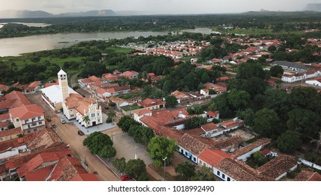 Carolina, Maranhao/Brazil 01/20/2018: Aerial view of the city of Carolina with highlight in the Diocese of Carolina and Tocantins river in the background