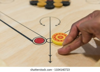 Carom board game, selective focus
