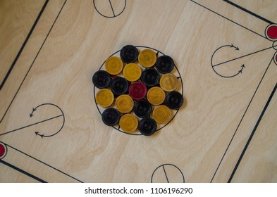 Carom board game - Top view - Selective focus