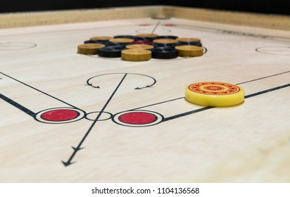 Carom set ready to play, selective focus