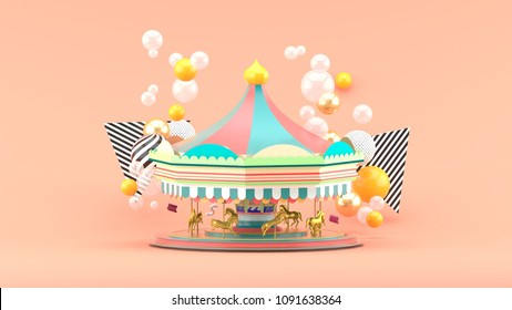Carousel among colorful balls on pink background.-3d render.