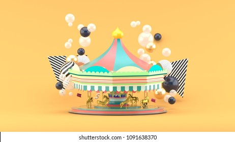 Carousel among colorful balls on orange background.-3d render.