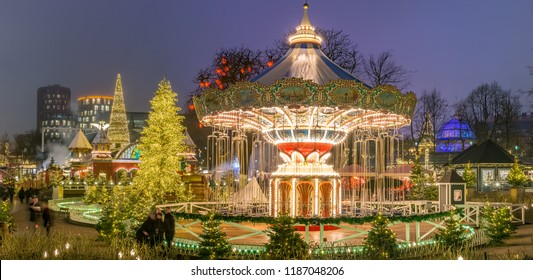 The carousel and christmas illumination in Tivoli Gardens, Compenhagen, Denmark
