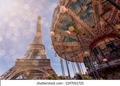Carousel and Eiffel tower in Paris