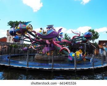Carousel with giant octopus. Attraction in Familypark, St. Margarethen, Burgenland, Austria, June 2017.