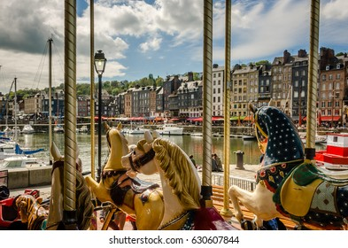 Carousel in Honfleur Frence shippers habour.