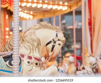 Carousel horse closeup