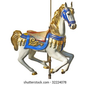 A carousel horse isolated over white background